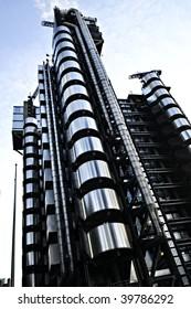 Futuristic steel Lloyd's building in London England