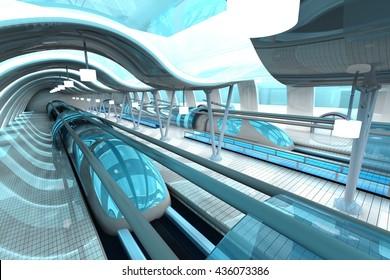 A futuristic subway or train station. 3D Illustration.