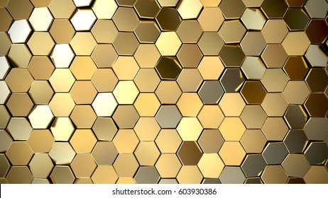 Futuristic surface with golden hexagons. 3d rendering