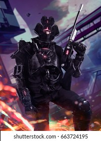 Futuristic swat soldier on a future city background. Swat soldier in futuristic tactical outfit armor and weapons standing on a science fiction background with glowing lights effect.