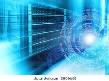 futuristic techno design on background of fantastic supercomputer data center