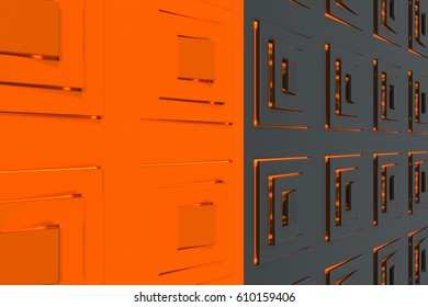 Futuristic technological background made from black and orange extruded rectangular shapes with glowing lines. Abstract background. Pattern of glowing rectangular lines. 3D rendering illustration.