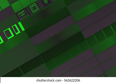 Futuristic technological or industrial background made from metal grates with glowing lines and elements. Abstract background. 3D rendering illustration.