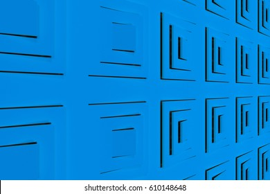 Futuristic technological or industrial background made from blue extruded rectangular shapes. Abstract background. Pattern of rectangular lines. 3D rendering illustration.