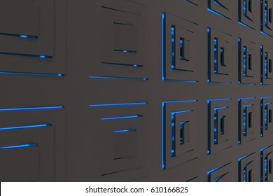 Futuristic technological or industrial background made from dark extruded rectangular shapes with glowing lines. Abstract background. Pattern of glowing rectangular lines. 3D rendering illustration.