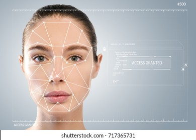 Futuristic and technological scanning of the face of a beautiful woman for facial recognition and scanned person. It can serve to ensure personal safety. Concept of:  future, security, scanning.