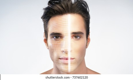Futuristic and technological scanning of the face of a beautiful man for facial recognition and scanned person. Concept of:  future, security, scanning.