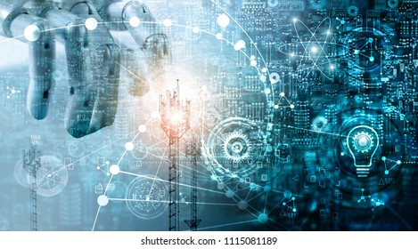 Futuristic technology concept,  Innovation data systems connecting people and robots devices. AI, Artificial Intelligence, Robotic hand on blue circuit board background. Innovative and  communication