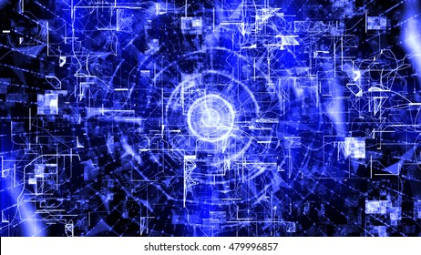 Futuristic technology style. 3D render background of random lines and particles. The design consists of fractal elements as a metaphor on the subject of business, science, education and technology