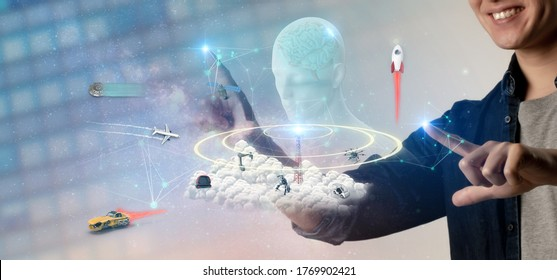 Futuristic technology trend concept of smart artificial intelligence. Ai using for create ,develop multi task of skill in many field to helping humans to work with better performance, efficiency