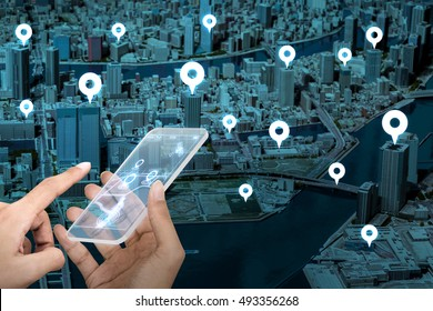futuristic transparent smart phone and location information system, abstract image visual