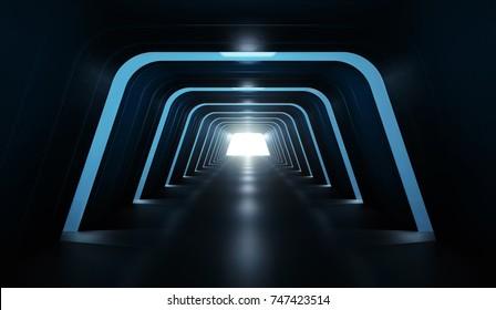 Futuristic tunnel. 3D rendering image