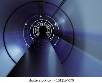 Futuristic tunnel. Corridor. 3D rendering image