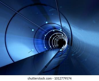 Futuristic tunnel. Long corridor. 3D rendering image