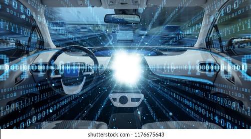 Futuristic vehicle concept. Autonomous car. Driverless vehicle.
