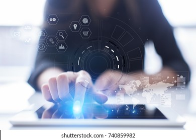 Futuristic virtual screen hologram. Business internet and technology concept. Modern computer. VR. Virtual reality.