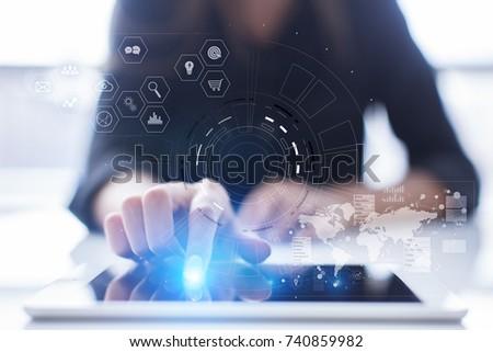 b37087d5e96b Futuristic virtual screen hologram. Business internet and technology concept.  Modern computer. VR.
