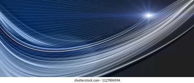 Futuristic wave panorama background design with lights