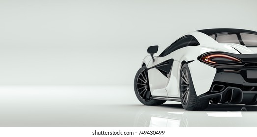 Futuristic white sports car (with grunge overlay) generic and brandless - 3d illustration