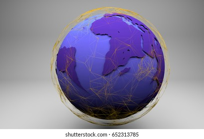 Futuristic world globe illustration with networked lines.3d render