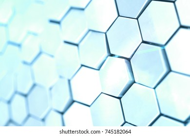 Futuristick abstract hexagonal background with depth of field effect. Structure of a large number of hexagons. Steel honeycomb wall texture, shiny hexagon clusters background, 3D rendering