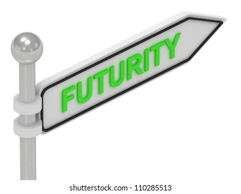 FUTURITY arrow sign with letters on isolated white background