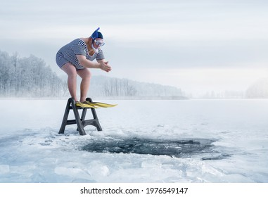 Fuunny overweight, retro swimmer about to jump into ice hole in the lake, with copy space