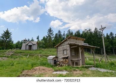 Fuzine , Croatia - June 4. 2017.  house in abandoned wild west movie set , Fuzine , Croatia