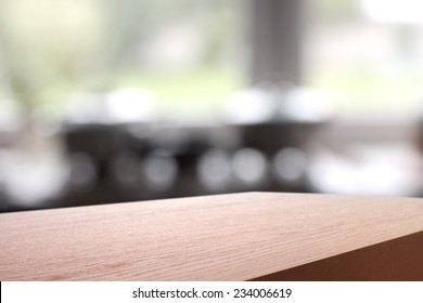 fuzzy background of home and red desk