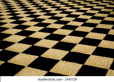 Fuzzy black & tan checkerboard carpet