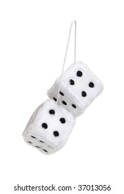 Fuzzy dice that are usually hung from the rear view mirror of a car - path included