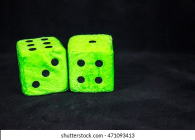 Fuzzy Green Dice With 7 Showing Twice