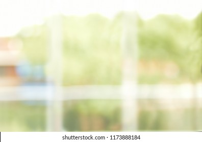 Fuzzy office photo with a window and views of a forest