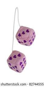 Fuzzy pink heart dice that are usually hung from the rear view mirror of a car - path included