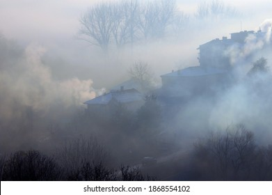 Fuzzy view of smoking chimneys, houses, trees and heavy fog in Bulgaria