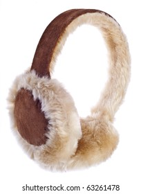 Fuzzy Winter Ear-Muffs Isolated on White with a Clipping Path.
