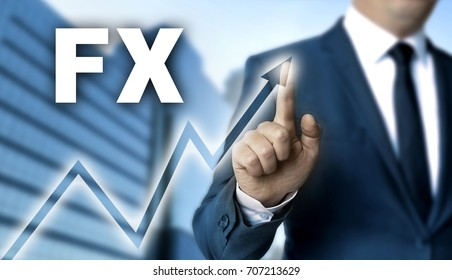 FX touchscreen is operated by businessman.