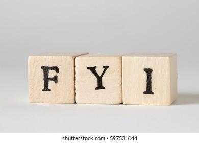 FYI Word Written In Wooden Blocks
