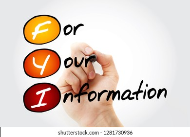 FYI - For Your Information, acronym business concept background