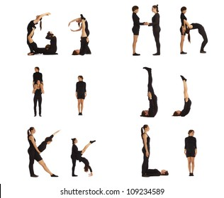 G, H, I, J, K and L abc letters formed by humans