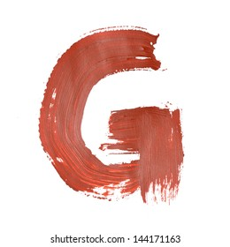 G - Red letters over white background