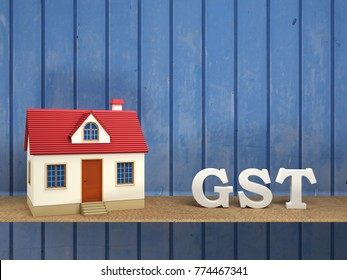 G S T concept with House Model - 3D Rendering Image
