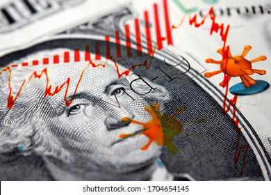 G. Washington sur un billet d'un dollar combiné avec les titres des journaux Corona / Covid-19 et une tendance à la baisse du marché boursier