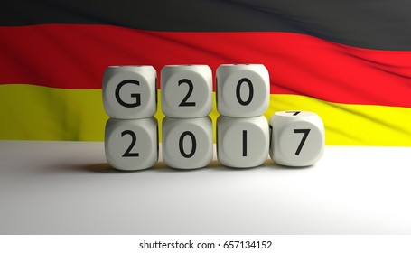 G20 concept, 3D rendering with a German flag in waving in background. G20 summit in Germany in 2017.