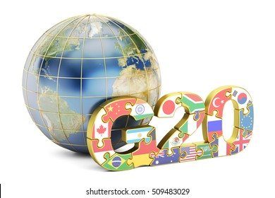 G20 concept with globe, 3D rendering isolated on white background, Elements of this image furnished by NASA