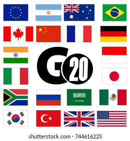 G20, flags of countries. Abstract concept. Flat design. Raster illustration on white background.