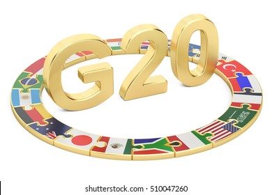 G20 puzzle concept, 3D rendering isolated on white background