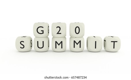 G20 summit, isolated on white background, 3D render