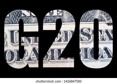 G20 Summit, Money on black background