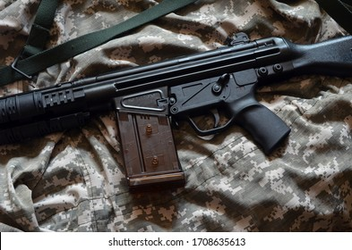 G3 assault rifle developed by Heckler & Koch GmbH and in use with a number of nations worldwide. Caliber 7,62x51 (WIN .308). April 19, 2020 in Kiev,Ukraine
